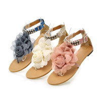 Wholesale 2013 New Arrival Sweaty Women Flat Sandals With Flower On Top Beading Strip Shoes