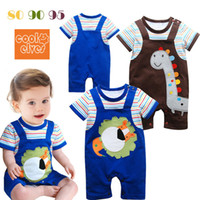 Wholesale Boy s One piece Romper Brown and Blue Jumpsuits New Bodysuits Dresses Clothing Outfits Sets Lace Rompers Baby Bodysuit