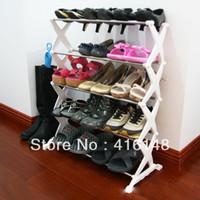 Wholesale Heavy duty streel tube foldable organizer Tier Shoe Rack footware storage
