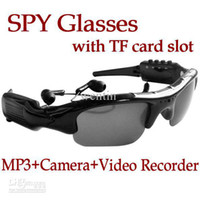 Wholesale Video Glasses Sunglasses mp3 player hidden DV Recorder Camera with TF card slot camera sunglasses