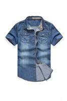 Wholesale 2013 new summer Men s Jeans Coat short sleeved shirt Fashion Men s Shirt Size S XL