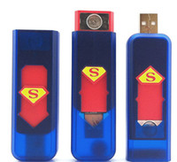 Wholesale super Man USB Power Rechargeable Green Electronic Cigarette Lighter Lighters USB no gas led lighter