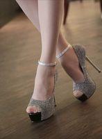 Wholesale Fashion Buckle Peep Toe Sandals Sexy Platform High Heels Shoes EUR Size