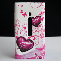 Wholesale Heart Butterfly Flower Soft Rubber TPU GEL SKIN CASE COVER For NOKIA LUMIA N800