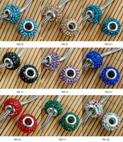 Wholesale 14MM Multicolor Resin Rhinestone Beads Silver Plated large hole Crystal Loose Bead diy fit Bracelets