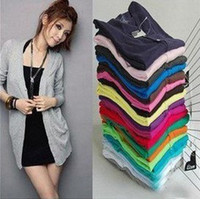 Wholesale Fashion Women s Cardigan Sweater Long sleeve Casual Slim Cotton Solid Knitwear Colors