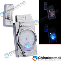 Gas color flame - Watch Cigarette Flame Lighters Gas Lighter Smoking Accessories with LED Color Changing Silvery