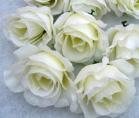 ball heads - Hot Artificial Flowers Milky white Roses Flower Head Flower Ball Flower Arrangement Silk Flower Festive Party Supplies