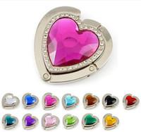 Wholesale 100pcs handbag hanger Folding crystal heart Purse Hook foldable Bag Holder mixed color wk002