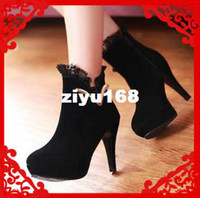 Wholesale 2013 Fashion Sexy Leather Ladies PU and Flock High Heel Ankle Boots Winter Platform Boots Colors