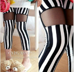Wholesale New fashion pants Girls leggings Children s black and white vertical stripe tight pants lcagmy