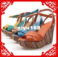 Women Wedge PU Free Shipping 2013 new wedding high heel wedge sandals for women and women's summer shoes #Y3033F