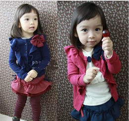 Wholesale 2016 new children girls bowknot decorative border long sleeve cardigan princess T shirt kid baby coat overcoat SZ85