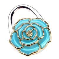 Wholesale 10pcs rose flower handbag hanger Purse Hook foldable Bag Holder wedding party gift wk006