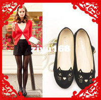 Wholesale New Arrive Brand Fashion Sexy Cute Cat Flat Shoes Ladies Flat Cansual Shoes