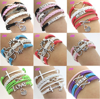 Wholesale New Silver Infinity Anchor cross love Charms leather Wrap bracelet