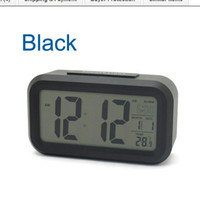 Wholesale Snooze Large Digital LCD Alarm Clock bedside clock with backlight Sensor Light White Black Pink color optional