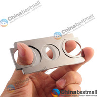 Wholesale Double Blade Stainless Steel Pocket Cigar Cutter Knife Cigar Accessories Silver Chinabestmall
