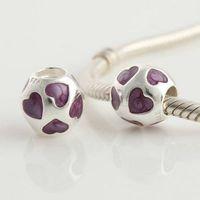 Silver genuine jewelry - Genuine Sterling Silver Purple Heart Enamel Charm Bead Fits European Pandora Jewelry Bracelets Necklaces Pendants