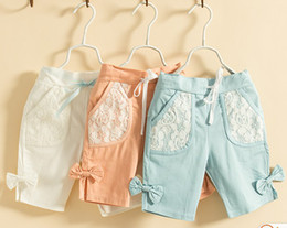Wholesale 2016 New summer children girls candy color bowknot lace pocket shorts pants kid trousers breeches color KZ81