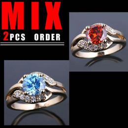 MIX 2PCS LOW PRICE Women Gold Filled Ring Round Cut Blue Topaz Red Garnet K108R096 Size 6