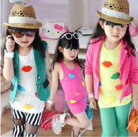 Wholesale hot sale Girls candy color vest Children cute lip sleeveless tops Kids Summer fashion garment lcagmy