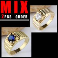 Men's base setting price - MIX LOW PRICE Men Gold Filled Ring Round Square Base Blue Sapphire White Topaz K122R113 SZ