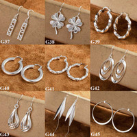Wholesale Fashion Women s Earrings Silver Multi Styles Charms European Style Dangle Earrings pairs