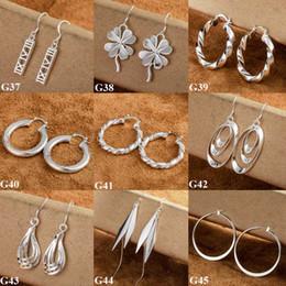 Fashion Women's Earrings 925 Silver Multi Styles Charms European Style Dangle Earrings 45pairs