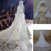 Wholesale 2013 Zuhair Murad Bridal Wedding Lace Veils Two Tiered Handmade Flowers Beaded Lace Appliques Long Tulle Veils