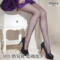 Pantyhose / Tights Women Nylon BONAS stockings 30D silk anti-hook stockings ultra-thin double upshift pantyhose plus size shiny 372