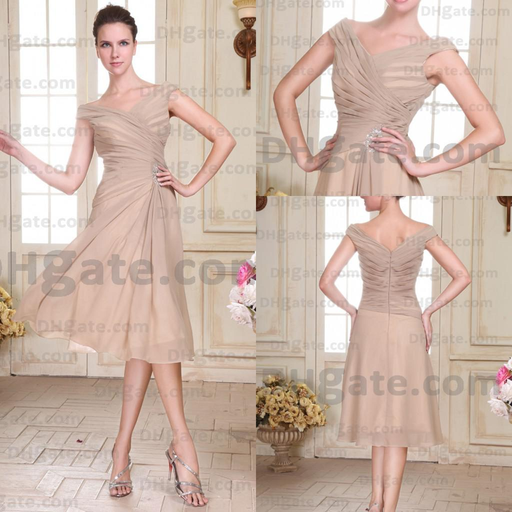 2014 Elegant Beige Cap Sleeves A Line Knee Length Party ...