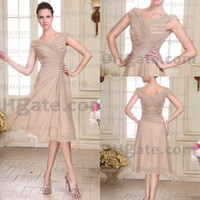 Model Pictures Knee-Length Chiffon 2014 Elegant beige cap sleeves A-Line knee length party dresses evening dress prom pageant gowns