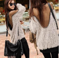 Wholesale 2013 New Fashion Womens Sexy Backless Batwing Sleeve Loose Casual Knit Tops Jumper Sweater Pullover