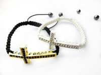 Wholesale 12pcs The lowest price crystal rhinestone sideways cross shamballa bracelet