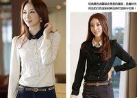 Women women's polo shirts - 2013 NEW lace Women s shirts polo collar long sleeve lace shirts slim women shirt Chiffon shirts