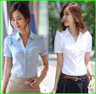 Best Women Short Sleeve Shirt Work Wear Overalls V Neck Shirt Work ...