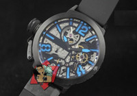 Wholesale Skeleton Dial Blue Automatic Men s Watch Black PVD Rubber Strap Mens Mechanical Sport WristWatches
