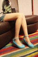 Wholesale ol Blue high heeled shoes waterproof slope with bridal shoes thick soles round head single shoe
