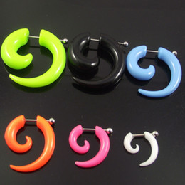 100pcs Free Shipping Candy Color acrylic Fake Ear Plug,UV Acrylic Ear Spiral expanders Earring Fake