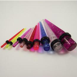 Wholesale 180 glitter color Ear Expander Ear Taper Stretchers Ear Plugs UV Piercing Jewelry Earring