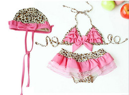 Wholesale Kids Swimwear Girls swimwear set fission bikini leopard print bathing suit Children Beach wear