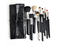 Wholesale piece professional pro makeup Cosmetic brush set with rolling pouch Face Powder Brushes Foundation Brushes H1027A