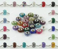 Wholesale Multicolor MM Sparkly Rhinestone Beads Silver Plated Core Crystal Loose Beads Fit Bracelet
