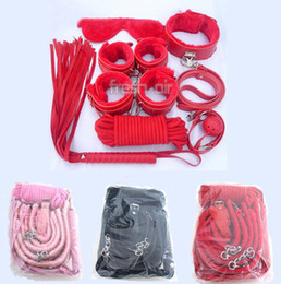 Wholesale 7Pcs Bondage Kit Set Fetish BDSM Roleplay Handcuffs Whip Rope Blindfold Ball Gag