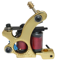 Golden Tattoo Machine Gun Liner For Tattoo power supply Needle Ink Cups Tips Grips Kits free shipping
