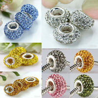 Wholesale 120PCS Mix Colors MM Rhinestone Beads Hot Silver platedCore European Crystal Bead Fit Bracelet