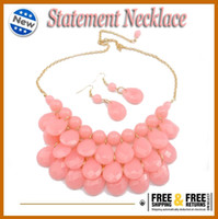 pink jewelry - New Arrival PINK Jewelry Sets for Woman Candy Color Resin Necklace Earrings Sets Free DHL