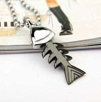 Wholesale Fashion Fish Bone Titanium Pendant Necklace Mix Color High Quality Stainless Steel Jewelry