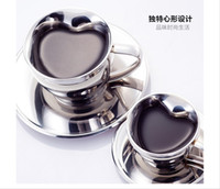 Wholesale Platinum stainless steel coffee cup mug set coffee equipment fashion